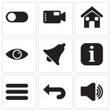 Set Of 9 simple editable icons such as Audio, Back, Menu, Information, Notification, View, Home, Video camera, Switch, pixel perfe Royalty Free Stock Image