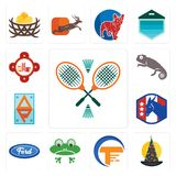 Set of badminton, wizard hat, traders, frog, f, democratic party, ap, chameleon, fire station icons. Set Of 13 simple editable icons such as badminton, wizard Royalty Free Stock Photography