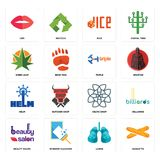 Set of baguette, lungs, beauty salon, celtic knot, helm, triple, weed leaf, dice, lips icons. Set Of 16 simple editable icons such as baguette, lungs, window Royalty Free Stock Photo