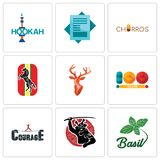 Set Of 9 simple editable icons such as basil, , courage. Set Of 9 simple editable icons such as basil, courage, 100 year, stag head, horse, churros, statement Royalty Free Stock Photo