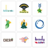 Set Of 9 simple editable icons such as beauty salon, catering services,. Import export, firemen, military, thanksgiving, billiards, can be used for mobile, web Stock Photo