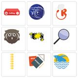 Set Of 9 simple editable icons such as betta fish, homework, spine. Focus group, car crash, free owl, resturant, photography camera, catering, can be used for Royalty Free Stock Images