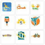 Set Of 9 simple editable icons such as bike shop, bank transfer, waffle. Martial arts, 5 star, home paint, 10 years, crab, disability, can be used for mobile Stock Image