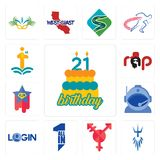 Set of 21 birthday, poseidon, transgender, all in one, login, astronaut helmet, superstar, rap, first class icons. Set Of 13 simple editable icons such as 21 Stock Photography