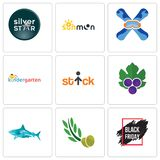 Set Of 9 simple editable icons such as black friday sale, olive leaves, sharks. Grape stick figure, kindergarten, snowboard, sun moon, silver star, can be used Royalty Free Stock Photography