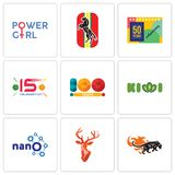 Set Of 9 simple editable icons such as black panthers, stag head, nano. Kiwi, 100 year, 15 years celebration, 50 anniversary, horse, girl power, can be used Stock Images