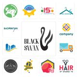 Set of black swan, hair studio, football helmet, 70 years, tiara, post car, real state, free, badminton icons. Set Of 13 simple editable icons such as black swan Royalty Free Stock Photo
