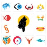 Set of black wolf, sharks, deer head, heating cooling, martial arts, hot dog, shrimp, 10 years, cat icons. Set Of 13 simple editable icons such as black wolf Royalty Free Stock Photos
