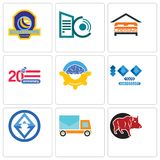 Set Of 9 simple editable icons such as boar, post car, 3. 100 year anniversary, program management, 20 lodging, datacenter, volleyball tournament, can be used Stock Photo