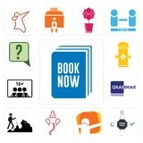 Set of book now, order form, dab, ganesh, hiker, grammar, number players, fire hydrant, inquiry icons. Set Of 13 simple editable icons such as book now, order Stock Photos