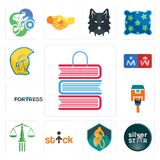 Set of book shop, silver star, mountain bike, stick figure, scales justice, home paint, fortress, restroom, warrior head icons. Set Of 13 simple editable icons Royalty Free Stock Photo
