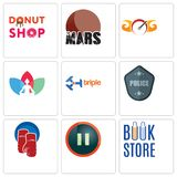 Set Of 9 simple editable icons such as book store, pause, boxing gloves. Police badge, triple, chakra, speedometer, mars, donut shop, can be used for mobile Stock Image