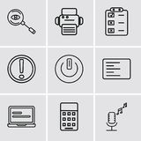 Set Of 9 simple editable icons such as Broadcast microphone, Calculator, Laptop frontal monitor, Left side alignment, Button on of stock illustration
