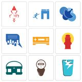 Set Of 9 simple editable icons such as broken glass, electric meter, vr headset. Fire hydrant, set top box, discussion board, telecom, join us, ganesh, can be Royalty Free Stock Image