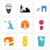 Set Of 9 simple editable icons such as broken glass, fire hydrant, dab. Orchid, bank branch, waterfall, join us, hiker, electric meter, can be used for mobile Royalty Free Stock Photo