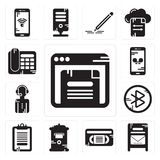 Set of Browser, Mailbox, Vhs, Clipboard, tooth, News reporter, Smartphone, Telephone icons. Set Of 13 simple editable icons such as Browser, Mailbox, Vhs Royalty Free Stock Images
