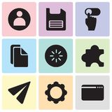 Set Of 9 simple editable icons such as Browser, Settings, Send, Plugin, Loading, Copy, Slide, Diskette, User, pixel perfect vector. Set Of 9 simple editable Stock Photo