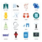 Set of buffering, book now, 360 degree, join us, next steps, inquiry, fire hydrant, dab, cell tower icons. Set Of 16 simple editable icons such as buffering Stock Photos