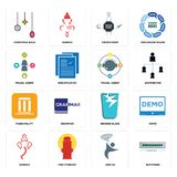 Set of buffering, join us, ganesh, broken glass, municipality, travel agent, order form, christmas bulb icons. Set Of 16 simple editable icons such as buffering Stock Photo