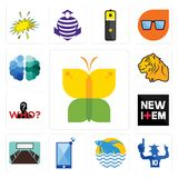 Set of buterfly, sports fan, betta fish, phone, conference room, new item, mystery person, tiger, free brain icons. Set Of 13 simple editable icons such as Royalty Free Stock Photos