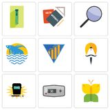 Set Of 9 simple editable icons such as buterfly, thermostat, welding. Sikh, yield, betta fish, focus group, homework, zipper, can be used for mobile, web Stock Photography