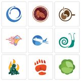 Set Of 9 simple editable icons such as cabbage, bear paw, firemen. Snails, aeroplane, catering services, coffe, cacao, import export, can be used for mobile Stock Photography