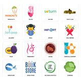 Set of cabbage, uce reuse recycle, aeroplane, cacao, plum, import, lollipop, saturn, parachute icons. Set Of 16 simple editable icons such as cabbage, uce reuse Royalty Free Stock Photos