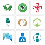 Set Of 9 simple editable icons such as campaign management, inflammation, video call. Marquee, hamster, abortion, image of  cross, hunger, eco club, can be Stock Photography