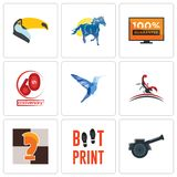 Set Of 9 simple editable icons such as cannon, boot print, chess knight. Scorpion, colibri, 60th anniversary, 100 guarantee, mustang mascot, toucan, can be Royalty Free Stock Photography
