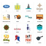 Set of cannon, boot print, 50th birthday, shisha, sawmill, zipper, under construction, oil derrick, f icons. Set Of 16 simple editable icons such as cannon, boot Royalty Free Stock Photos