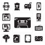 Set of Cassette, Email, Tablet, Phone book, Cloud computing, Keyboard, Video call, Server, Browser icons. Set Of 13 simple editable icons such as Cassette, Email Stock Photo