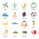 Set of cat, free delivery, running club, 3 people, taxi, equestrian, metropolis, checkmark, generic icons. Set Of 16 simple editable icons such as cat, free Stock Photos