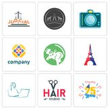 Set Of 9 simple editable icons such as celebrating 25 years, hair studio, secretary. Eiffel tower, moose, free, dslr, tiara, judicial, can be used for mobile Stock Photography