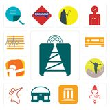 Set of cell tower, ganesh, municipality, vr headset, dab, hiker, set top box, tracker icons. Set Of 13 simple editable icons such as cell tower, ganesh Stock Image