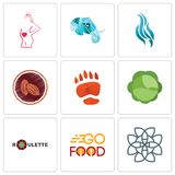 Set Of 9 simple editable icons such as celtic knot, go food, roulette. Cabbage, bear paw, cacao, flame, elephant head, maternity, can be used for mobile, web Royalty Free Stock Photo
