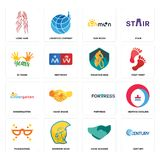Set of century, hand shaking, masquerade, fortress, kindergarten, mountain bike, 10 years, sun moon, long hair icons. Set Of 16 simple editable icons such as Stock Photography