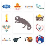 Set of chameleon, democratic party, digger, cannon, ping pong, insurance, badminton, bird nest, no.1 icons. Set Of 13 simple editable icons such as chameleon Stock Photography