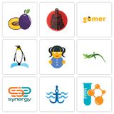 Set Of 9 simple editable icons such as chemical company, navy anchor, synergy. Lizard, doll, penguin, gamer, spartan, plum, can be used for mobile, web Stock Photography