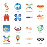 Set of chess, sunday, human resources, carpet, disability, railway, barn, golf tournament, shrimp icons. Set Of 16 simple editable icons such as chess, sunday Royalty Free Stock Photography