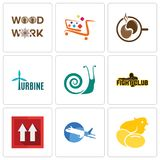 Set Of 9 simple editable icons such as chick, aeroplane, this side up. Fight club, snails, turbine, coffe, super market, woodwork, can be used for mobile, web Stock Images