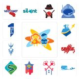 Set of childcare, air mail, , superstar, winding road, savage, poseidon, all in one icons. Set Of 13 simple editable icons such as childcare, air mail Royalty Free Stock Photos