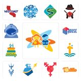 Set of childcare, tortilla, transgender, , poseidon, first class, 21 birthday, house, astronaut helmet icons. Set Of 13 simple editable icons such as childcare Royalty Free Stock Images