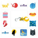 Set of chopper, wolf face, disability, black wolf, , pillow, foot print, hot dog, book shop icons. Set Of 13 simple editable icons such as chopper, wolf face Royalty Free Stock Photo