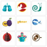 Set Of 9 simple editable icons such as coffe, surgeon, spartan. Aeroplane, gamer, plum, snails, lungs, can be used for mobile, web Stock Images