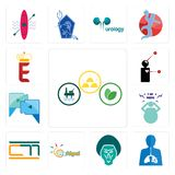 Set of commodities, inflammation, baboon, preschool, , obesity, video call, symptoms, e crown icons. Set Of 13 simple editable icons such as commodities Royalty Free Stock Images