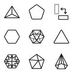 Set Of 9 simple editable icons such as Cone, Dodecahedron, Hexagon, Triangle, Rotate, Pentagon, Tetrahedron, pixel perfect vector. Set Of 9 simple editable icons Stock Image