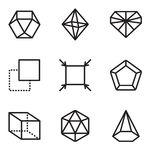 Set Of 9 simple editable icons such as Cone, Icosahedron, Cube, Pentagon, Fit, Layer, Diamond, Octahedron, Dodecahedron, pixel per. Set Of 9 simple editable Royalty Free Stock Photography
