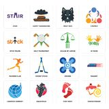 Set of confectionery, foot print, logistics company, drones, running club, scales justice, stick figure, wolf face, stair icons. Set Of 16 simple editable icons Stock Photos