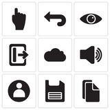 Set Of 9 simple editable icons such as Copy, Diskette, User, Audio, Cloud computing, View, Back, Tap, pixel perfect vector icon pa Royalty Free Stock Images