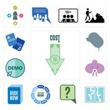 Set of cost uction, broken glass, inquiry, discussion board, book now, orchid, demo, car dealer, vocabulary icons. Set Of 13 simple editable icons such as cost Royalty Free Stock Image